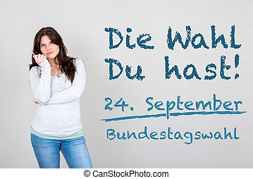 Woman with german appeal to go vote at german federal...