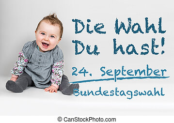 Baby with german appeal to go vote at german federal...