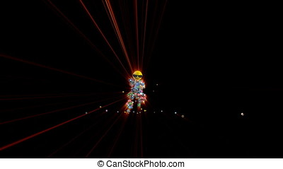 Social Network Icons Robot Dancing with red lasers