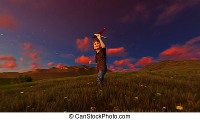 Little boy with airplane on green meadow, tree of life at sunset, panning
