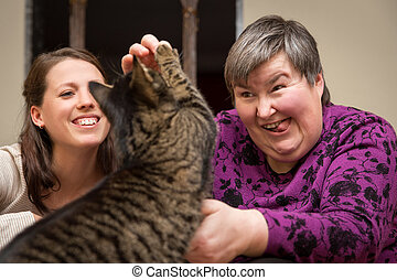 animal-facilitated therapy for a mentally disabled woman