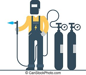 Welder at work with mask and gas balloons