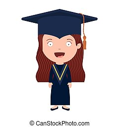 silhouette girl with graduation outfit