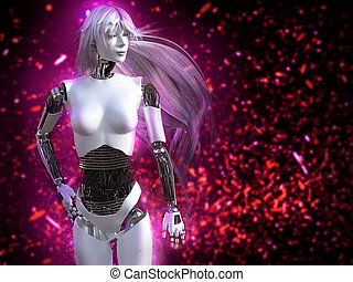 3D rendering of female robot with long hair and bokeh light effect.