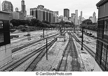 Chicago Railroad - Empty railroad framed by the Chicago...
