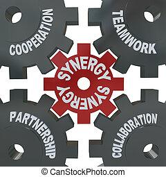 sinergia, engranajes, -, trabajo en equipo, acción