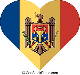 Moldova heart flag - Vector image of the Moldova heart flag