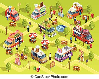 Food Trucks Outdoors Isometric Composition Poster