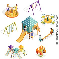 Isometric Swinging Kids Icon Set - Colored and isolated...