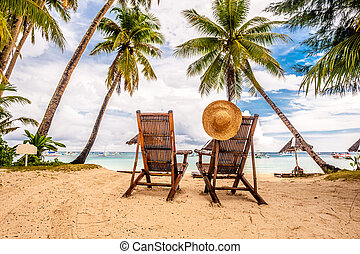 Beautiful beach with palm trees at Philippines