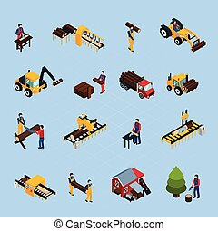 Sawmill Isometric Icons Set - Sawmill isometric icons set of...