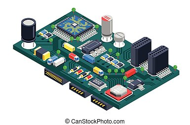 Circuit Board Isometric Concept - Semiconductor electronic...