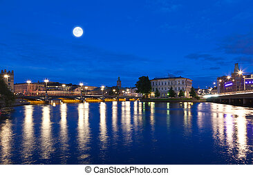 Night scene of the Stockholm City Sweden
