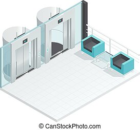 Modern Elevator Hall Interior - Elevator lift isometric...