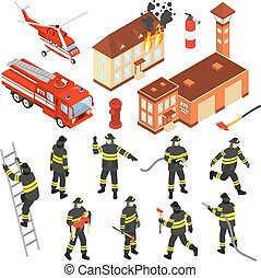 Isometric Fire Department Icon Set - Colored isometric fire...
