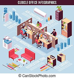 Cubicle Office Infographics Isometric Layout - Cubicle...