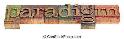 paradigm - a word in vintage wooden letterpress prinitng...