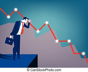 Businessman looking at falling diagram. Economic and...