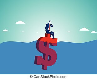 Businessman sitting on money