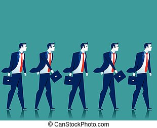 Teamwork. Businessmen walk. Concept business illustration....