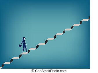 Challenge. Businesswoman walking up staircase