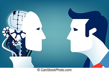 Humans vs Robots. Concept business illustration. Vector flat