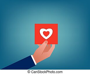 Valentines. Holding red heart card