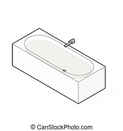 Modern bathtub filled with water. Outlined isometric vector...