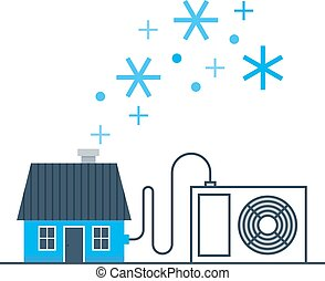 Ductless air conditioning concept - Home air conditioning,...