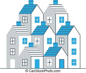 Building development, mortgage and realty concept - Group of...