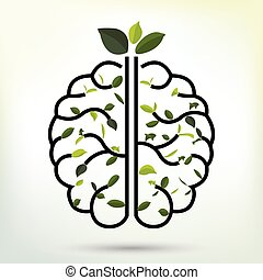 Brain with Green leaf. Black outline vector illustration.