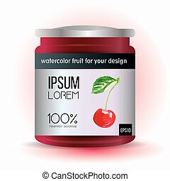 Template label design with cherry for fruit jam, compote, marmalade.
