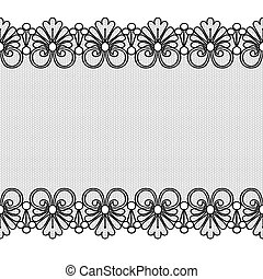 Black lace border with floral pattern on a white background