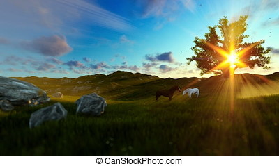 Two horses on green meadow and tree of life, beautiful sun rays