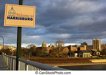 Welcome to Harrisburg - seen at sunrise. Harrisburg,...