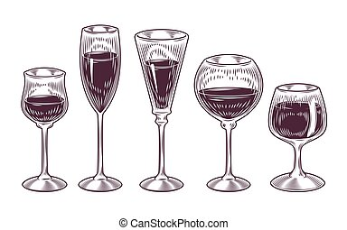 Vector collection of wine glasses