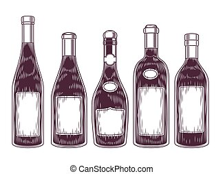 Vector collection of wine bottles