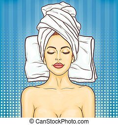 Pop art beautiful woman in spa environment - Vector pop art...