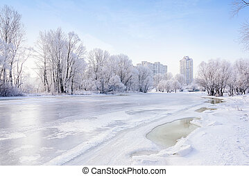 Frozen Water, Snow and Ice on the Dnieper River - Landscape...