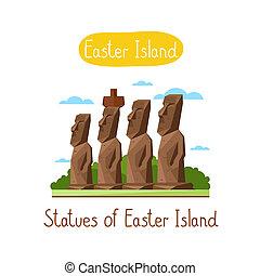 Landmarks concept. Travel the world. Raster. - Statues of...