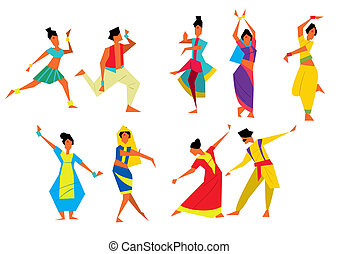 Indian dancers raster illustration. Cartoon style....