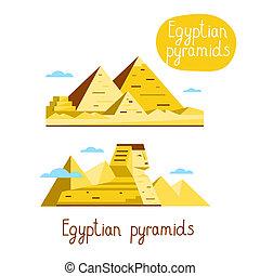 Landmarks concept. Travel the world. Raster. - Egyptian...