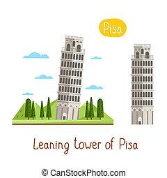 Landmarks concept. Travel the world. Raster. - Leaning tower...
