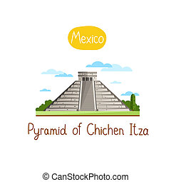 Landmarks concept. Travel the world. Raster. - Pyramid of...