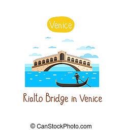 Landmarks concept. Travel the world. Raster. - Rialto Bridge...