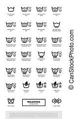 Laundry washing symbols icon set, raster illustration