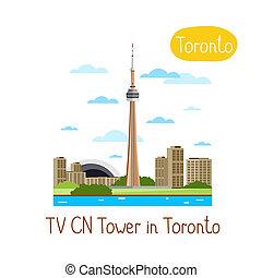 Landmarks concept. Travel the world. Raster. - TV CN Tower...