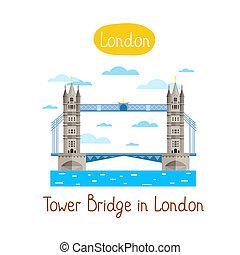 Landmarks concept. Travel the world. Raster. - Tower Brige...