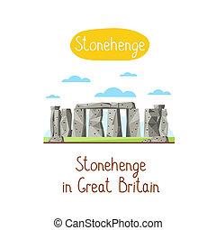 Landmarks concept. Travel the world. Raster. - Stonehenge in...