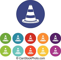 Traffic cone set icons in different colors isolated on white...